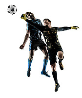 two soccer players goalkeeper men in studio silhouette isolated on white background