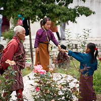 People gathered at a stupa in Thimpu, Bhutan<br />