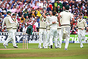 Australia celebrate the wicket of Brairstow during the 3rd Investec Ashes Test match between England and Australia at Edgbaston, Birmingham, United Kingdom on 30 July 2015. Photo by Shane Healey.
