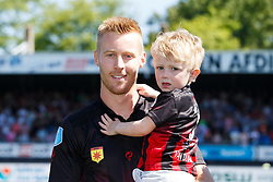 Mike van Duinen of Excelsior with son during the Dutch Eredivisie match between sbv Excelsior Rotterdam and Ajax Amsterdam at Van Donge & De Roo stadium on May 06, 2018 in Rotterdam, The Netherlands