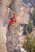 Nancy Feagin rock climbing at the Hellgate, Little Cottonwood Canyon, Wasatch Range, Utah.