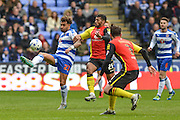 Reading FC midfielder (23) Danny Williams under pressure during the Sky Bet Championship match between Reading and Birmingham City at the Madejski Stadium, Reading, England on 9 April 2016. Photo by Mark Davies.