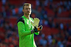 LONDON, ENGLAND - Saturday, August 6, 2016: Liverpool's goalkeeper Simon Mignolet after the 4-0 victory over Barcelona during the International Champions Cup match at Wembley Stadium. (Pic by Xiaoxuan Lin/Propaganda)