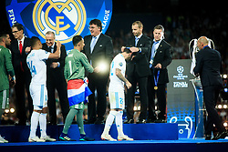Casemiro of Real Madrid, Keylor Navas of Real Madrid and Isco of Real Madrid receive their medals after the UEFA Champions League final between Real Madrid and Liverpool at NSC Olimpiyskiy Stadium on May 26, 2018 in Kiev, Ukraine. Photo by Sandi Fiser / Sportida
