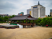 14 JUNE 2018 - SEOUL, SOUTH KOREA: The Cheonugak Pavilion in Namsangol in central Seoul.       PHOTO BY JACK KURTZ