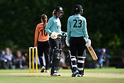 Marizanne Kapp and Sarah Taylor of Surrey Stars meet as they hit a boundary off the bowling of Suzie Bates during the Women's Cricket Super League match between Southern Vipers and Surrey Stars at Arundel Castle, Arundel, United Kingdom on 18 August 2019.