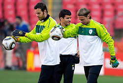 Goalkeeper of Slovenia Samir Handanovic, Aleksander Radosavljevic and Goalkeeper of Slovenia Aleksander Seliga  warm up during training session at Ellis Park on June 17, 2010 in Johannesburg, South Africa. Slovenia will play their next FIFA World Cup Group C match against USA at Ellis Park in on Friday June 18, 2010, in Johannesburg, South Africa. (Photo by Vid Ponikvar / Sportida)