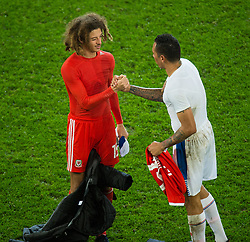 CARDIFF, WALES - Tuesday, November 14, 2017:Wales' Ethan Ampadu and Panama's Blas Perez swop shirts after the international friendly match between Wales and Panama at the Cardiff City Stadium. (Pic by Peter Powell/Propaganda)