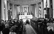 State Funeral Of Mrs Thomas Clarke..1972..08.10.1972..10.08.1972..8th October 1972..Today the state funeral of Mrs Kathleen Clarke took place at the Pro Cathedral,Dublin. Mrs Clarke was the wife of the late Thomas Clarke who was executed in Kilmainham Jail in 1916. Thomas Clarke was a signatory of the Irish Proclamation of 1916...Image shows the interior of The Pro Cathedral as the remains of Mrs Kathleen Clarke lie in state before the altar.