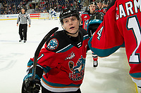 KELOWNA, BC - OCTOBER 16:  Pavel Novak #11 of the Kelowna Rockets celebrates a goal with fist bumps at the bench against the Swift Current Broncos at Prospera Place on October 16, 2019 in Kelowna, Canada. (Photo by Marissa Baecker/Shoot the Breeze)