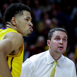 Jan 3, 2018; Baton Rouge, LA, USA; LSU Tigers head coach Will Wade reacts along with guard Skylar Mays (4) during the second half against the Kentucky Wildcats at the Pete Maravich Assembly Center. Kentucky defeated LSU 74-71.  Mandatory Credit: Derick E. Hingle-USA TODAY Sports