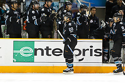 March 31, 2011; San Jose, CA, USA;  San Jose Sharks defenseman Dan Boyle (22) celebrates with teammates after scoring a goal against the Dallas Stars during the first period at HP Pavilion. Mandatory Credit: Jason O. Watson / US PRESSWIRE