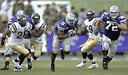 Kansas State running back Thomas Clayton (5) brakes up the middle for a 80-yard touchdown run on the first play of the third quarter.  Kansas State defeated Florida International 35-21 at KSU Stadium in Manhattan, Kansas on September 3, 2005.