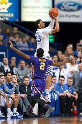 Kentucky guard Jamal Murray makes one of his 4 three point baskets. <br /> <br /> The University of Kentucky hosted the LSU Tigers, Saturday, March 05, 2016 at Rupp Arena in Lexington .