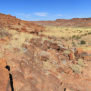 Twyfelfontein archaeological site, Rock engravings of African wildlife subjects, Namibia.