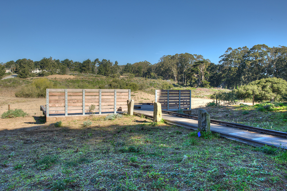 Mountain Lake Trail West in the Presidio,  with the viewing platform for the Merchant Marine Cemetery
