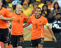 Durban World Cup 2010  Holland v Slovakia Match 53 28/06/10<br /> Arjen Robben (Holland)  celebrates first goal with Giovanni van Bronckhorst<br /> Photo Roger Parker Fotosports International