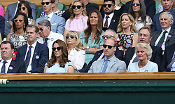 July 14, 2019 - London, United Kingdom - Catherine, Duchess of Cambridge and Prince William, Duke of Cambridge attend the Royal Box..Photographer Rob Newell/CameraSport..Wimbledon Lawn Tennis Championships - Day 13 - Sunday 14th July 2019 -  All England Lawn Tennis and Croquet Club - Wimbledon - London - England..World Copyright © 2019 CameraSport. All rights reserved. 43 Linden Ave. Countesthorpe. Leicester. England. LE8 5PG - Tel: +44 (0) 116 277 4147 - admin@camerasport.com - www.camerasport.com (Credit Image: © Andrew Patron/ZUMA Wire)