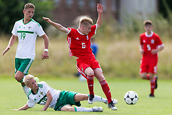 WREXHAM, WALES - Thursday, August 15, 2019: Wales' Daniel Watts and Northern Ireland's Mitchell Watterson during the UEFA Under-15's Development Tournament match between Wales and Northern Ireland at Colliers Park. (Pic by Paul Greenwood/Propaganda)