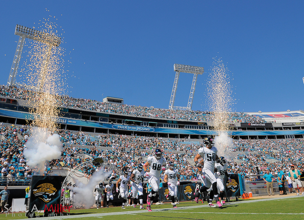 The Jacksonville Jaguars take the field during player introductions prior to the Jags game against the New Orleans Saints at EverBank Field on Oct. 2, 2011 in Jacksonville, Fla...©2011 Scott A. Miller