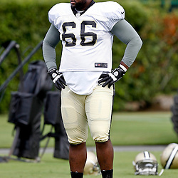 July 28, 2012; Metairie, LA, USA; New Orleans Saints offensive guard Ben Grubbs (66) during a training camp practice at the team's practice facility. Mandatory Credit: Derick E. Hingle-US PRESSWIRE