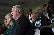 President Duane Nellis watches the football game against the Hampton Pirates on Sept. 2, 2017 in the Presidents box at Peden Stadium.