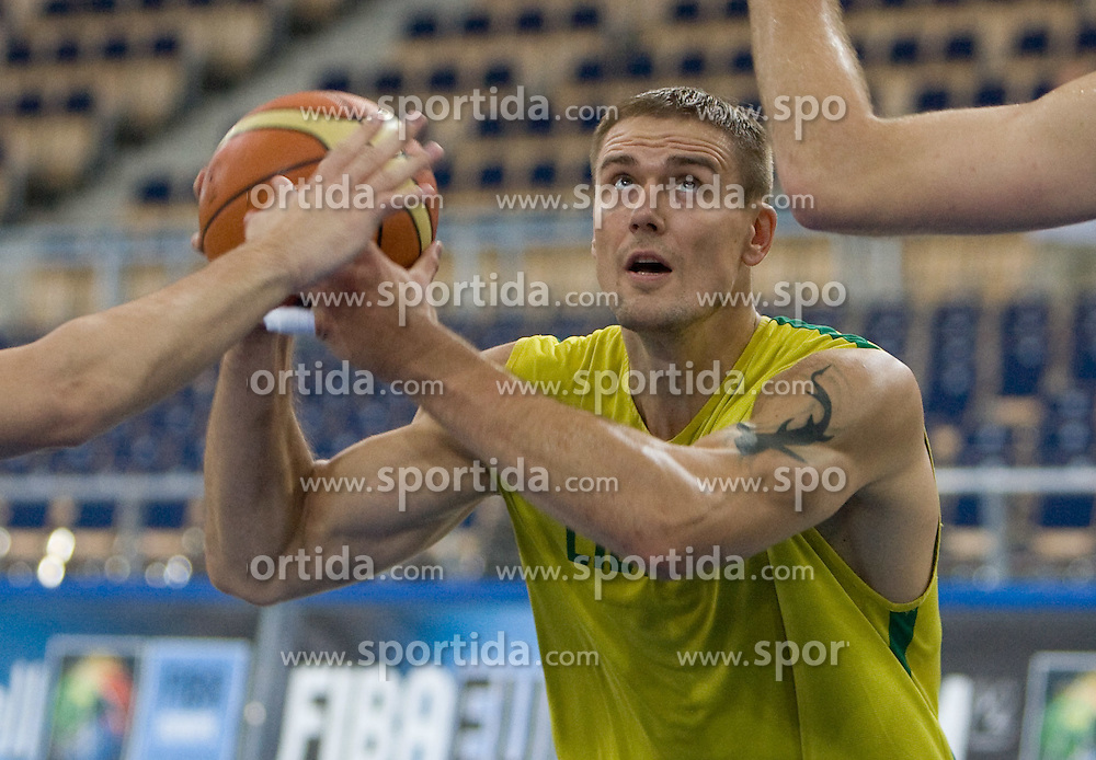Robertas Javtokas  of Lithuania during the practice session, on September 11, 2009 in Arena Lodz, Hala Sportowa, Lodz, Poland.  (Photo by Vid Ponikvar / Sportida)