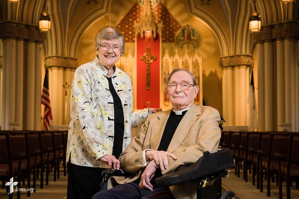 Portrait of the Rev. Dr. Norman Nagel and Betsy Nagel on Wednesday, August 26, 2015, at the historic chapel of Laclede Groves in Webster Groves, Mo. LCMS Communications/Erik M. Lunsford