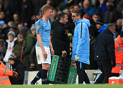 Manchester City's Kevin De Bruyne goes off injured during the Carabao Cup, Fourth Round match at the Etihad Stadium, Manchester.