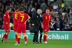 CARDIFF, WALES - Friday, October 12, 2012: Wales' injured Darcy Blake walks off with physiotherapist Sean Connelly during the Brazil 2014 FIFA World Cup Qualifying Group A match against Scotland at the Cardiff City Stadium. (Pic by David Rawcliffe/Propaganda)
