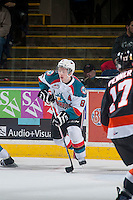 KELOWNA, CANADA - JANUARY 10: Colten Martin #8 of Kelowna Rockets skates with the puck against the Medicine Hat Tigers on January 10, 2015 at Prospera Place in Kelowna, British Columbia, Canada.  (Photo by Marissa Baecker/Shoot the Breeze)  *** Local Caption *** Colten Martin;