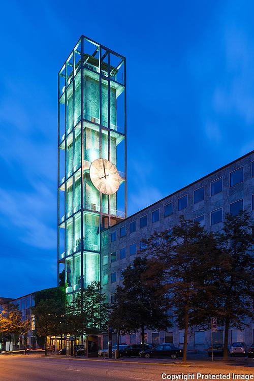 Aarhus City Hall, Clock tower at night, Denmark. Built 1941. Architect: Arne Jacobsen and Erik Møller.