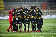 G&Ouml;TEBORG - 2018-02-18: Spelarna i BK H&auml;cken g&ouml;r sig redo f&ouml;r match under matchen i Svenska Cupen, grupp 4, mellan BK H&auml;cken och IFK V&auml;rnamo den 18 februari 2018 p&aring; Bravida Arena i G&ouml;teborg, Sverige.<br /> Foto: Anders Ylander/Ombrello<br /> ***BETALBILD***