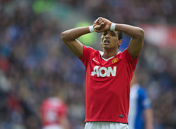 WIGAN, ENGLAND - Saturday, February 26, 2011: Manchester United's Nani looks dejected after missing a chance against Wigan Athletic during the Premiership match at the DW Stadium. (Photo by David Rawcliffe/Propaganda)
