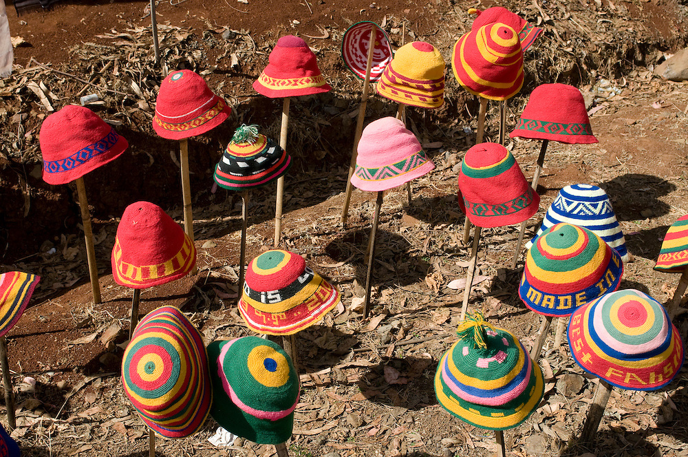 Hats for sale, Dorze market, Omovalley, Ethiopia,Africa