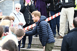 © Licensed to London News Pictures. 21/02/2017. Newcastle UK. HRH Prince Harry joins a training session in the centre of Newcastle with Team Heads<br /> Together as part of an ongoing campaign to get the nation talking about mental health. As<br /> the countdown to the Virgin Money London Marathon continues, Prince Harry will meet the runners and Heads Together supporters from across the North East who are working to make 2017 the mental health marathon. Heads Together, the campaign to change the conversation on mental health which is spearheaded by Their Royal Highnesses, is the Official Charity of the Year of the 2017 Virgin Money London Marathon. Photo credit: Andrew McCaren/LNP