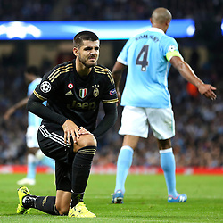 Alvaro Morata of Juventus looks disappointed after missing a chance during the UEFA Champions League group stage match between Manchester City and Juventus at the Etihad Stadium - Mandatory byline: Matt McNulty/JMP - 07966386802 - 15/09/2015 - FOOTBALL - Etihad Stadium -Manchester,England - Manchester City v Juventus - UEFA Champions League - Group D