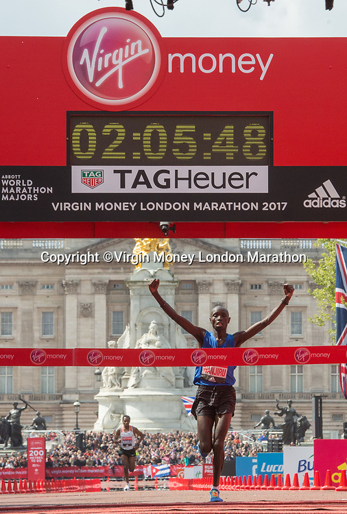 Daniel Wanjiru KEN crosses the line to win the Elite Men&rsquo;s Race. The Virgin Money London Marathon, 23rd April 2017.<br /> <br /> Photo: Roger Allen for Virgin Money London Marathon<br /> <br /> For further information: media@londonmarathonevents.co.uk