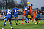 AFC Wimbledon striker Kweshi Appiah (9) battles for possession during the EFL Sky Bet League 1 match between AFC Wimbledon and Southend United at the Cherry Red Records Stadium, Kingston, England on 24 November 2018.