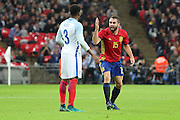 Spain defender Dani Carvajal (15) unhappy with England defender Danny Rose (03) during the Friendly match between England and Spain at Wembley Stadium, London, England on 15 November 2016. Photo by Matthew Redman.