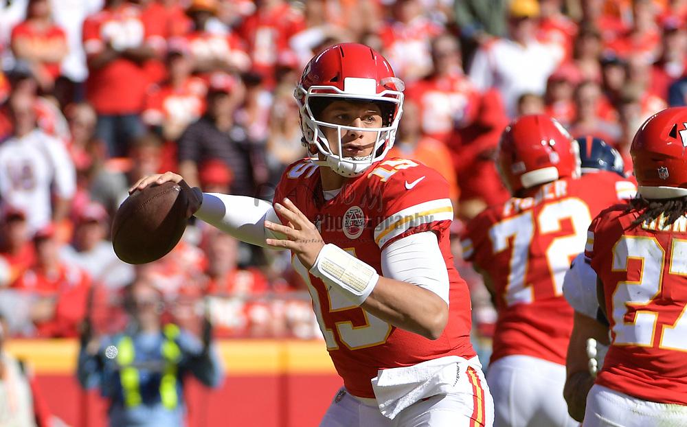 Oct 28, 2018; Kansas City, MO, USA; Kansas City Chiefs quarterback Patrick Mahomes (15) throws a pass during the first half against the Denver Broncos at Arrowhead Stadium. Mandatory Credit: Denny Medley-USA TODAY Sports