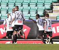 Fotball , 15. april 2012, Tippeligaen Eliteserien , Sogndal - Haugesund<br /> <br /> Foto: Christian Blom , Digitalsport                  (L) 7 Henrik Furebotn, (M) 26 Malik Mane, (R) 23 Tonny Brockmann Christensen, 8 Ulrik Flo, 2 Taijo Teniste Sogndal