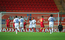 LLANELLI, WALES - Wednesday, August 15, 2012: Wales' goalkeeper Boaz Myhill looks dejected as Bosnia-Herzegovina score the second goal during the international friendly match at Parc y Scarlets. (Pic by David Rawcliffe/Propaganda)