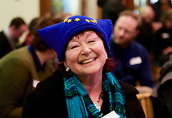 A woman attending an anti-Brexit rally at Augustine United Church, Edinburgh wearing a hat with the EU flag. pic copyright Terry Murden @edinburghelitemedia