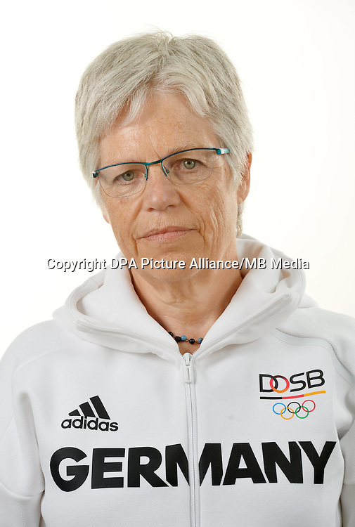 Ulrike Spitz poses at a photocall during the preparations for the Olympic Games in Rio at the Emmich Cambrai Barracks in Hanover, Germany. July 06, 2016. Photo credit: Frank May/ picture alliance.   usage worldwide