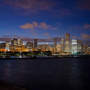 Chicago Skyline at night from the Aquarium. Chicago, Illinois. USA. Night view of the Chicago Skyline.<br /> chicago,Illinois. USA.