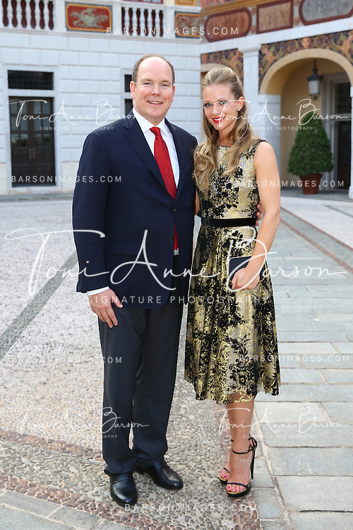 MONTE-CARLO, MONACO - JUNE 09:  Prince Albert II of Monaco and Andrea Joy Cook aka A.J. Cook attend a Cocktail Reception at Monaco Palace on June 9, 2014 in Monte-Carlo, Monaco.  (Photo by Pool Barson/FilmMagic)