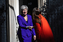 © Licensed to London News Pictures. 02/05/2019. London, UK. Prime Minister Theresa May (L) greets Icelandic Prime Minister Katrín Jakobsdóttir (R) outside 10 Downing Street. Photo credit: Rob Pinney/LNP