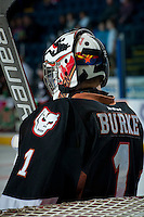 KELOWNA, CANADA - FEBRUARY 28: Brendan Burke #1 of Calgary Hitmen stands in net against the Kelowna Rockets on February 28, 2015 at Prospera Place in Kelowna, British Columbia, Canada.  (Photo by Marissa Baecker/Shoot the Breeze)  *** Local Caption *** Brendan Burke;