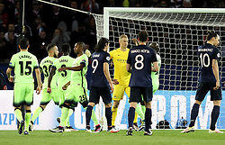 Joe Hart of Manchester City is congratulated by his teammates after saving a penalty taken by Zlatan Ibrahimovic of Paris Saint-Germain - Mandatory by-line: Robbie Stephenson/JMP - 06/04/2016 - FOOTBALL - Parc des Princes - Paris,  - Paris Saint-Germain v Manchester City - UEFA Champions League Quarter Finals First Leg
